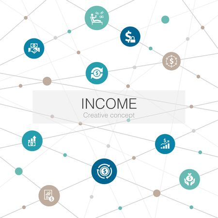 Income trendy web template with simple icons. Contains such elements as save money, profit, investment, profitability