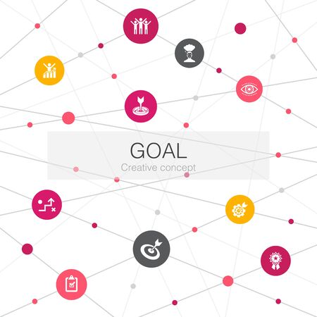 goal trendy web template with simple icons. Contains such elements as target, wish, task, goal setting
