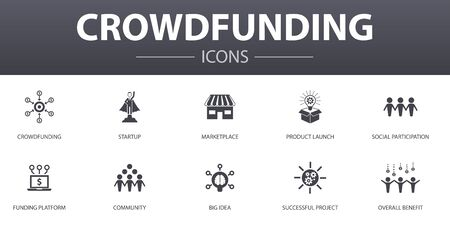 Crowdfunding simple concept icons set. Contains such icons as startup, product launch, funding platform, community and more, can be used for web, logo