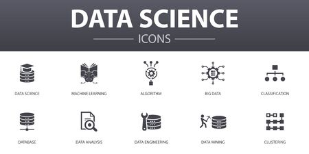 Data science simple concept icons set. Contains such icons as machine learning, Big Data, Database, Classification and more, can be used for web, logo