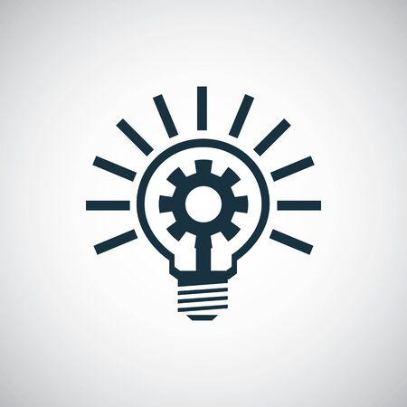 setting gear light bulb icon, on white background. Illustration