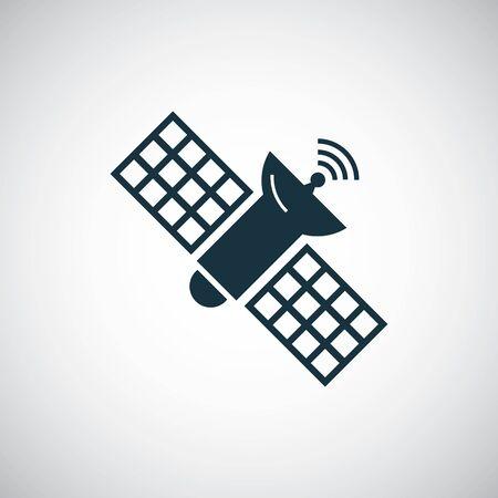 Satellitensymbol auf weißem Hintergrund.