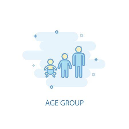 Age group line concept. Simple line icon, colored illustration. Age group symbol flat design Illustration