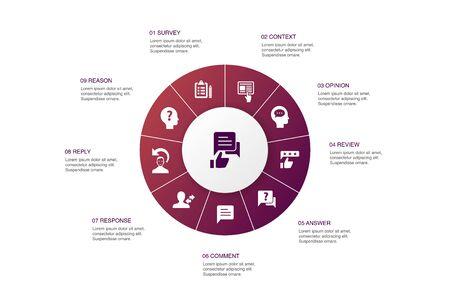 retroalimentación infografía 10 pasos círculo diseño encuesta, opinión, comentario, respuesta iconos simples Ilustración de vector