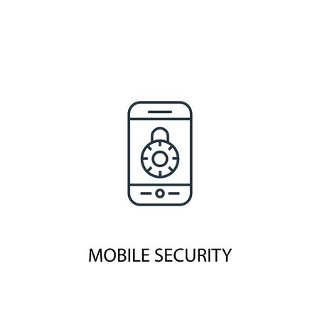 mobile security concept line icon. Simple element illustration. mobile security concept outline symbol design. Can be used for web and mobile UI Ilustracja