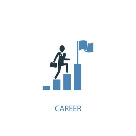 career concept 2 colored icon. Simple blue element illustration. career concept symbol design. Can be used for web and mobile