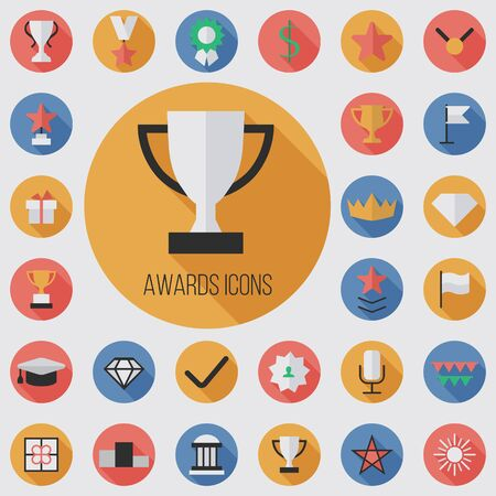 award flat, digital icon set with long shadow effect for web and mobile.