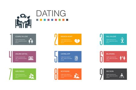 Dating Infographic 10 option line concept.couple in love, fall in love, dating app, relations simple icons Иллюстрация
