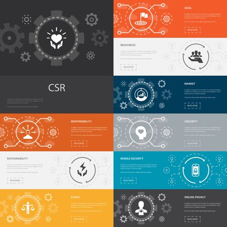 CSR Infographic 10 line icons banners.responsibility, sustainability, ethics, goal simple icons 写真素材 - 132116623