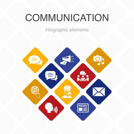 communication Infographic 10 option color design. internet, message, discussion, announcement simple icons