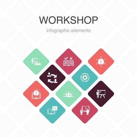workshop Infographic 10 option color design.motivation, knowledge, intelligence, practice simple icons