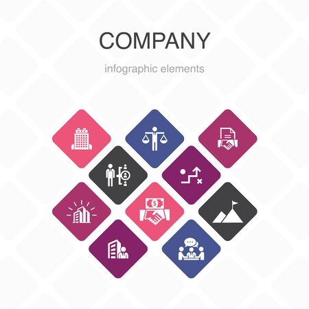 company Infographic 10 option color design. office, investment, meeting, contract simple icons  イラスト・ベクター素材