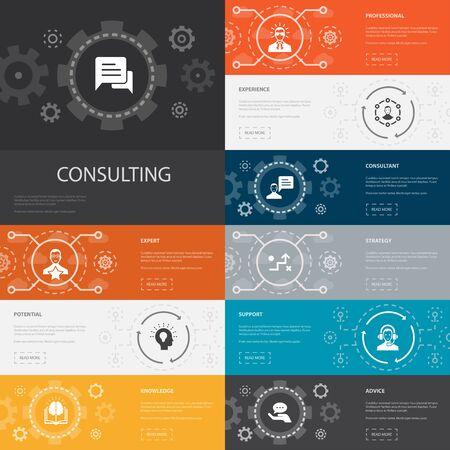 Consultoría, infografía, 10, línea, iconos, banners., Experto, conocimiento, experiencia, consultores, simple, iconos