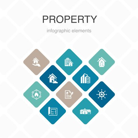 property Infographic 10 option color design.property type, amenities, lease contract, floor plan simple icons Standard-Bild - 132117655