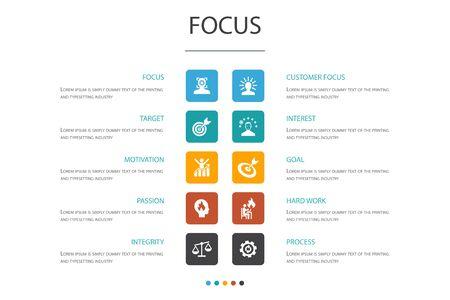 focus Infographic 10 option template.target, motivation, integrity, process simple icons Çizim