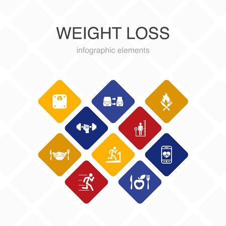 weight loss Infographic 10 option color design.body scale, healthy food, gym, diet simple icons