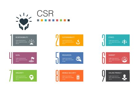 CSR Infographic 10 option line concept.responsibility, sustainability, ethics, goal simple icons