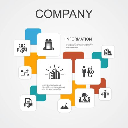 company Infographic 10 line icons template. office, investment, meeting, contract simple icons