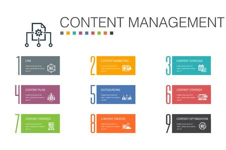 Content Management Infographic 10 option line concept.CMS, content marketing, outsourcing, digital content simple icons Stok Fotoğraf - 132117662