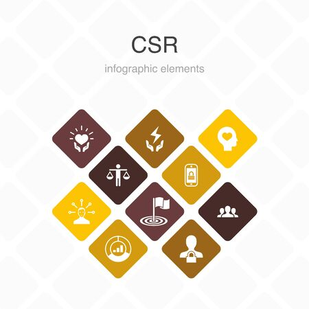 CSR Infographic 10 option color design. responsibility, sustainability, ethics, goal simple icons 写真素材 - 132117661