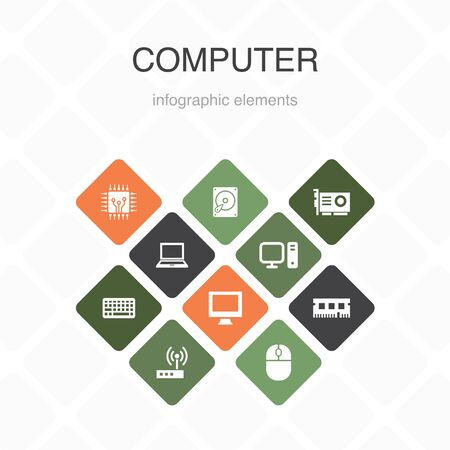 Computer Infographic 10 option color design. CPU, Laptop, Keyboard, hard drive simple icons