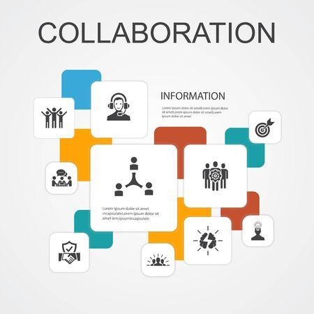 Zusammenarbeit Infografik 10-Linien-Symbole-Vorlage. Teamwork, Unterstützung, Kommunikation, Motivation einfache Symbole Vektorgrafik
