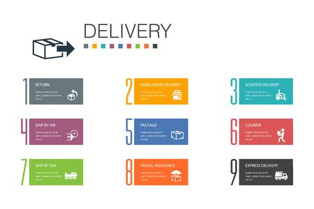 Delivery Infographic 10 option line concept.return, package, courier, express delivery simple icons Stok Fotoğraf - 132117706