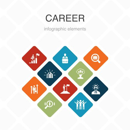 Career Infographic 10 option color design.company, leadership, hiring, job search simple icons Ilustração