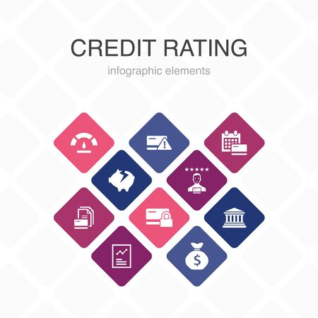 credit rating Infographic 10 option color design. Credit risk, Credit score, Bankruptcy, Annual Fee simple icons 写真素材 - 132117712