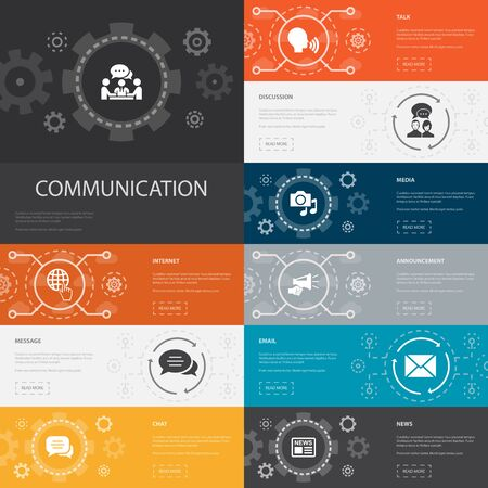 communication Infographic 10 line icons banners.internet, message, discussion, announcement simple icons 写真素材 - 132117714