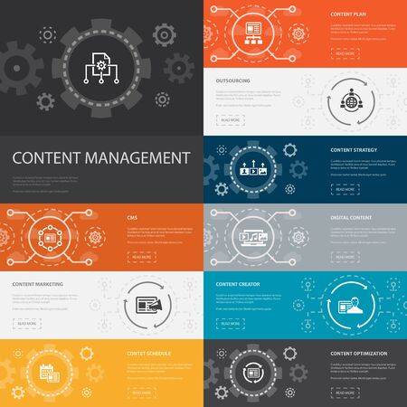 Content Management Infographic 10 line icons banners.CMS, content marketing, outsourcing, digital content simple icons Çizim