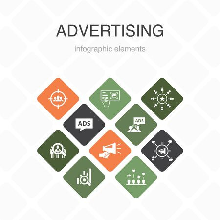 Advertising Infographic 10 option color design.Market research, Promotion, Target group, Brand Awareness simple icons 写真素材 - 132117716