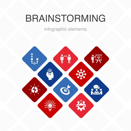brainstorming Infographic 10 option color design.imagination, idea, opportunity, teamwork simple icons Banco de Imagens - 132117717