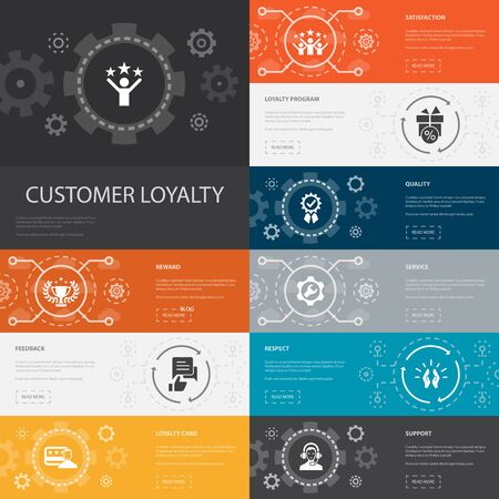 Customer Loyalty Infographic 10 line icons banners.reward, feedback, satisfaction, quality simple icons Archivio Fotografico - 132117718