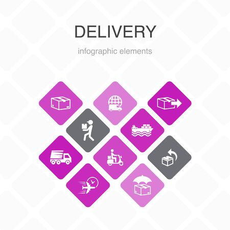 Delivery Infographic 10 option color design. return, package, courier, express delivery simple icons 写真素材 - 132117719