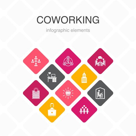 Coworking Infographic 10 option color design. creative office, collaboration, workplace, sharing economy simple icons Stok Fotoğraf - 132117721