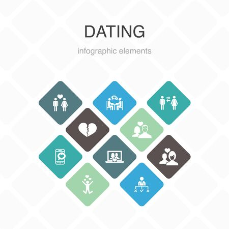 Dating Infographic 10 option color design. couple in love, fall in love, dating app, relations simple icons