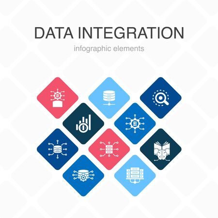Data integration Infographic 10 option color design. database, data scientist, Analytics, Machine Learning simple icons  イラスト・ベクター素材