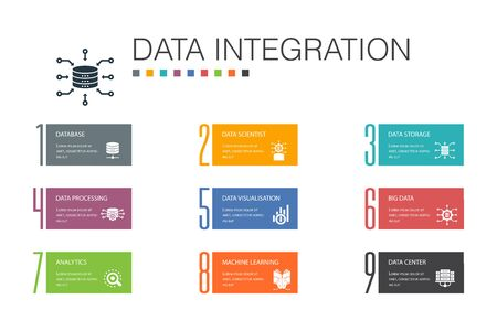 Data integration Infographic 10 option line concept.database, data scientist, Analytics, Machine Learning simple icons