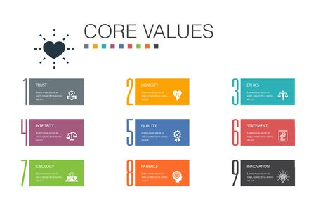 Core values Infographic 10 option line concept.trust, honesty, ethics, integrity simple icons 矢量图像