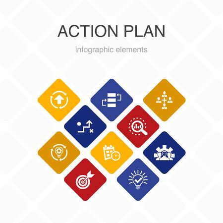 action plan Infographic 10 option color design. improvement, strategy, implementation, analysis simple icons