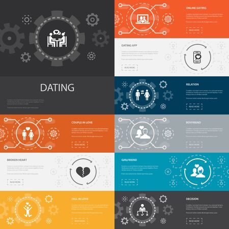 Dating Infographic 10 line icons banners.couple in love, fall in love, dating app, relations simple icons Illusztráció