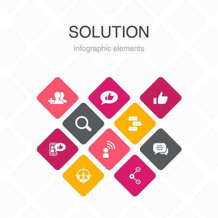 social media Infographic 10 option template.like, share, follow, comments simple icons