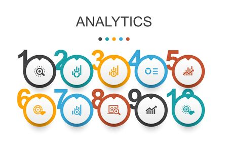 analytics Infographic design template.linear graph, web research, trend, monitoring simple icons