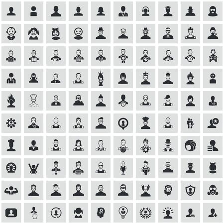 avatar 100 icons universal set for web and UI.