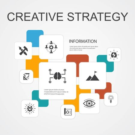 Creative Strategy Infographic 10 line icons template. vision, brainstorm, collaboration, project simple icons