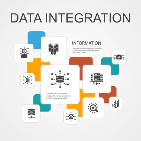 Data integration Infographic 10 line icons template. database, data scientist, Analytics, Machine Learning simple icons