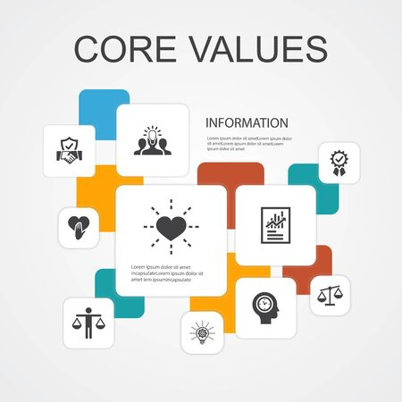 Core values Infographic 10 line icons template. trust, honesty, ethics, integrity simple icons