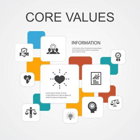 Valores fundamentales Plantilla de iconos de línea de infografía 10. confianza, honestidad, ética, integridad iconos simples