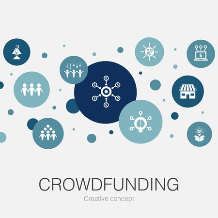 Crowdfunding trendy circle template with simple icons. Contains such elements as startup, product launch, funding platform, community Illustration